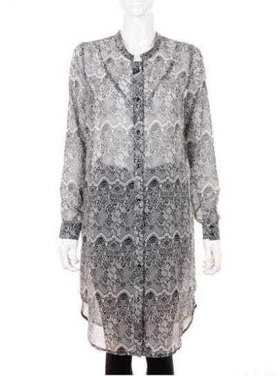 Vintage Printed Round Neck Long Sleeve Grey Chiffon Shirt