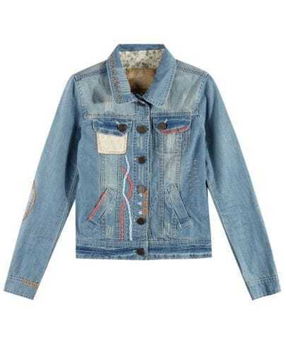 Vintage Lapel Long Sleeve Blue Denim Coat