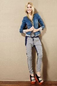 Zippered Vintage Long Sleeve Blue Denim Coat