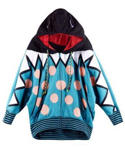 Polka Dot Blue Hooded Bat Long Sleeve Coat