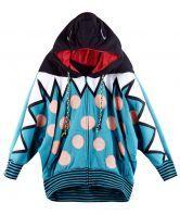 Polka Dot Blue Hooded Bat Long Sleeve Coat