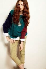 Color Matching Vintage Round Neck Bat Long Sleeve Green Sweater