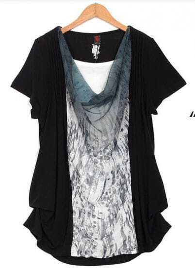 Black Chiffon Patched Ink Print Draped Neck Short Sleeve T Shirt