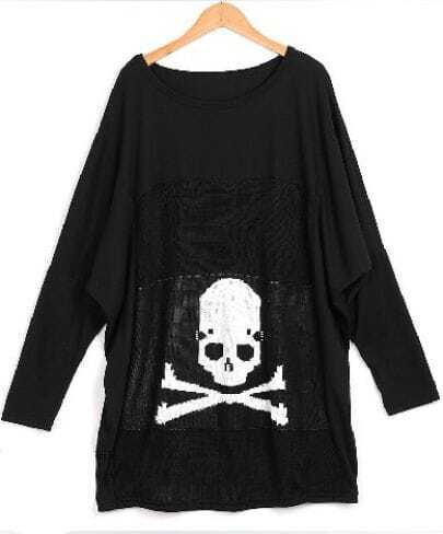Black Skull Print Round Neck Long Sleeve T Shirt