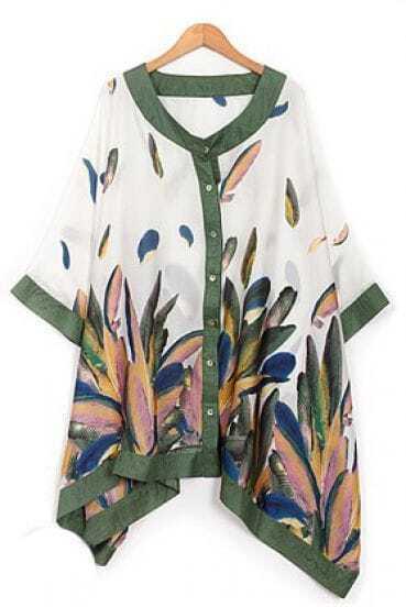 Green Loose Vintage Round Neck Print Half Sleeve Chiffon Shirt