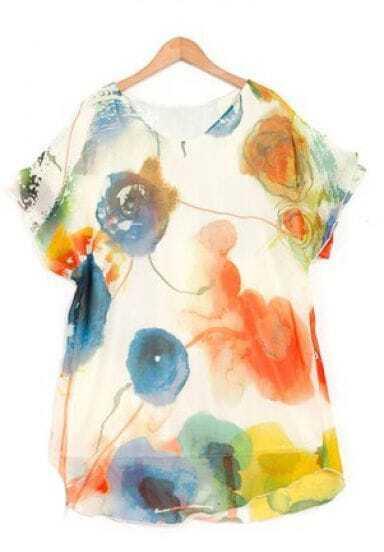 Design And Color Round Neck Print Short Sleeve Chiffon Shirt