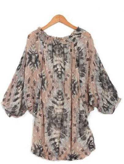 Apricot Half Sleeve Chiffon Shirt