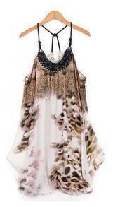 Leopard Print Spaghetti Strap Chiffon Above Knee Dress