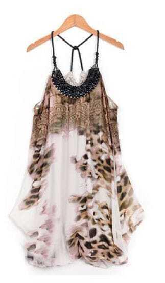 Leopard Print Spaghetti Strap Chiffon Above Knee Dress