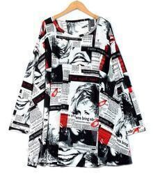 Fashion Newspaper Print Round Neck Long Sleeve Dress