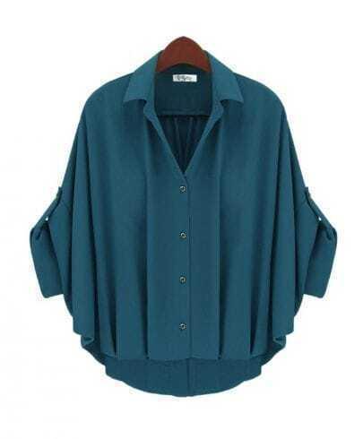 Vintage Solid Green Lapel Bat Bat Sleeve Loose Chiffon Shirt