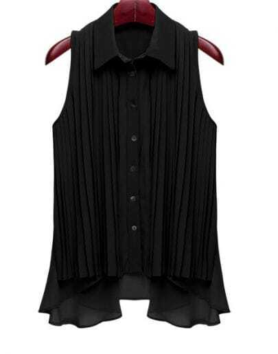 Pleated Solid Black Lapel Sleeveless Loose Chiffon Shirt