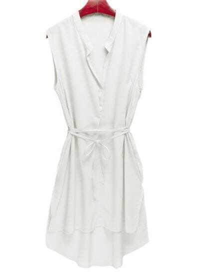 White V Neck Sleeveless Chiffon Irregular Chiffon Shirt