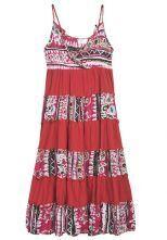 Red Printed Spaghetti Strap V Neck Long Dress
