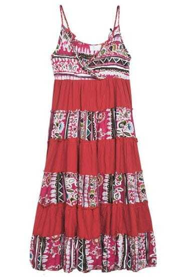 Red Printed Spaghetti Strap V Neck Long Dress