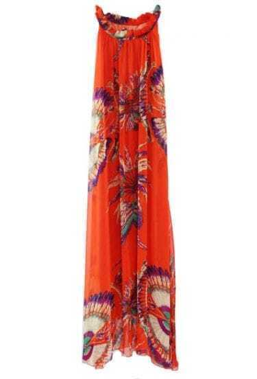 Orange Floral Round Neck Sleeveless Chiffon Irregular Dress