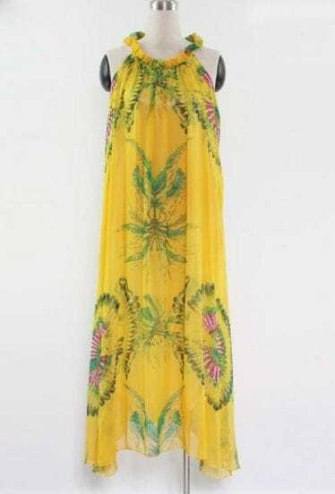 Yellow Floral Round Neck Sleeveless Chiffon Irregular Dress
