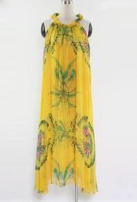 Yellow Floral Round Neck Sleeveless Chiffon Irregular Dress
