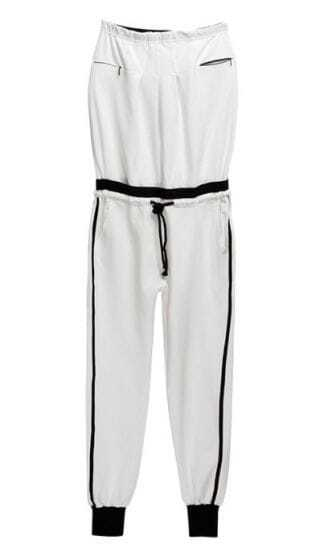White Strapless Mid Waist Loose Cotton Jumpsuit