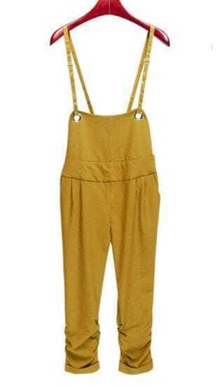 Solid Yellow Mid Waist Slim Bib Capris