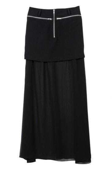 Zippered Solid Black All Match Chiffon Skirt
