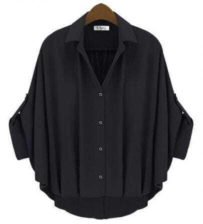 Vintage Solid Black Lapel Bat Bat Sleeve Loose Chiffon Shirt