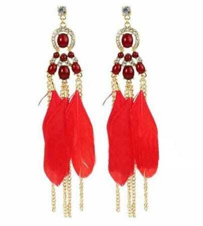 Red Feather Purl Earrings