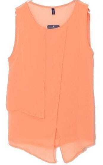 Orange Round Neck Irregular Chiffon Tank Shirt