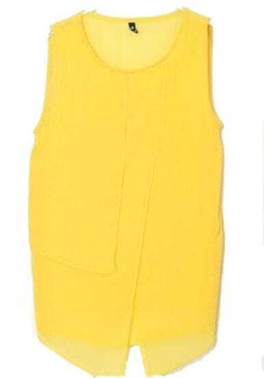 Yellow Round Neck Irregular Chiffon Tank Shirt