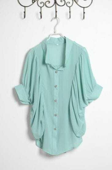 Green Modern Chiffon Half Sleeve Shirt