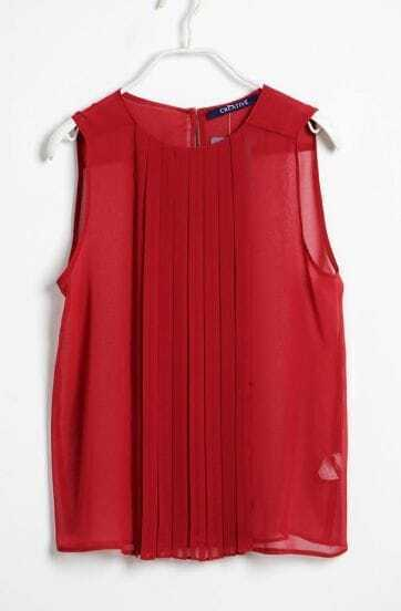 Wine Red Round Neck Chiffon Pleated Tank Shirt