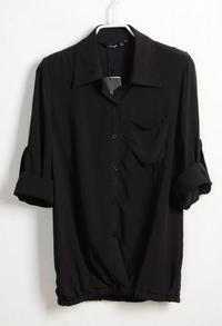 Black Lapel Cotton Long Sleeve Shirt
