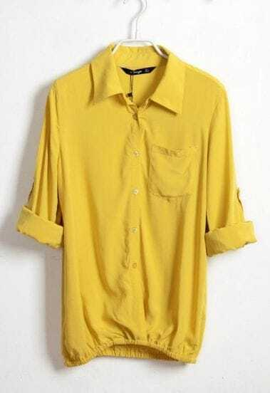 Yellow Lapel Cotton Long Sleeve Shirt