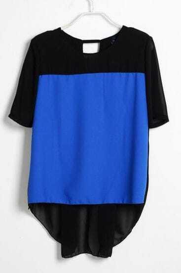 Black Blue Pinup Round Neck Short Sleeve Chiffon Shirt