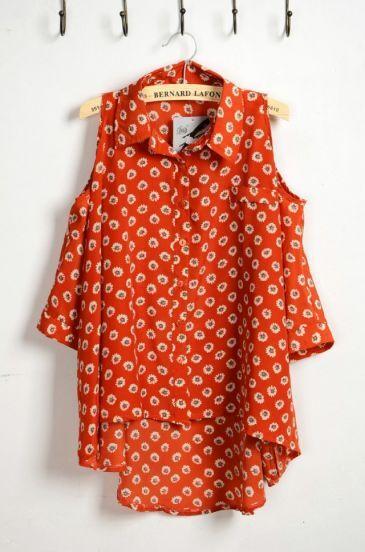 Orange Floral Print Lapel Tank Shirt