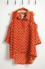 Orange Floral Print Lapel Tank Shirt