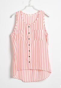 Pink Stripe Round Neck Button Chiffon Tank Shirt