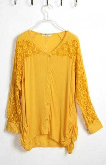 Yellow V Neck Patchwork Lace Long Sleeve Shirt