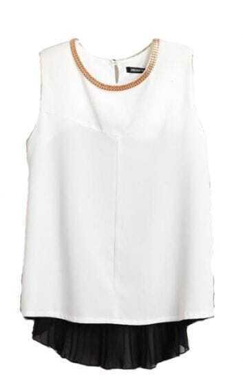 Black White Pinup Pinup Round Neck Tank Chiffon Shirt