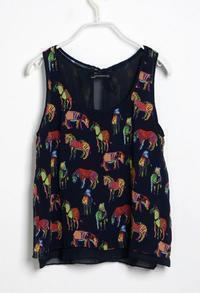 Dark Blue Horse Print Round Neck Tank Shirt