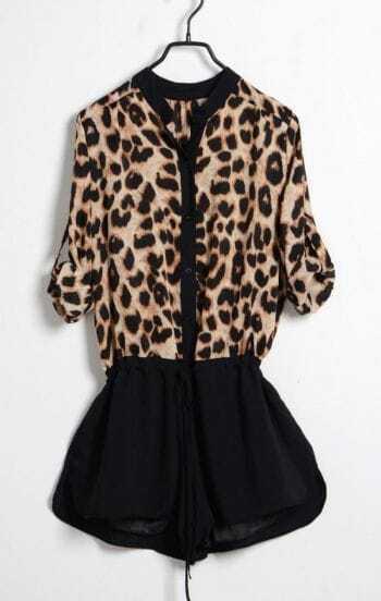 Leopard Chiffon Middle Waist Jumpsuit