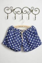 Dark Blue Dot Print Middle Waist Shorts