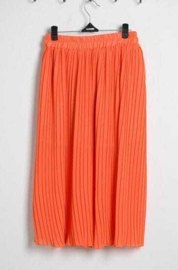Orange Pleated Chiffon Full Length Skirt