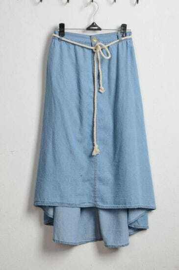 Light Blue Denim Asymmetrical Full Length Skirt