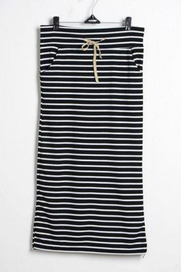 Black Bowtie Stripe Full Length Skirt