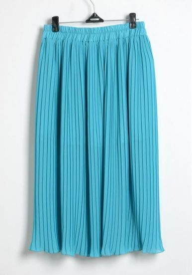 Blue Pleated Chiffon Full Length Skirt