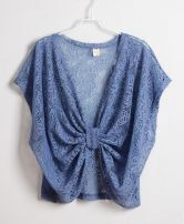 Blue V Neck Bowtie Bat Wing Sleeve Shirt