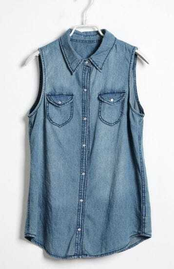 Light Blue Denim Lapel Tank Shirt