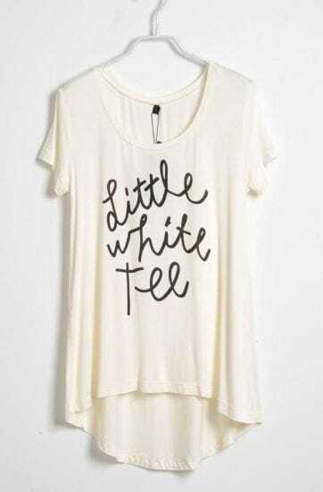White Short Sleeve Dipped Hem LITTLE WHITE TEE