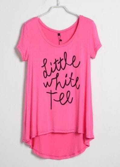 Pink Short Sleeve Dipped Hem LITTLE WHITE TEE